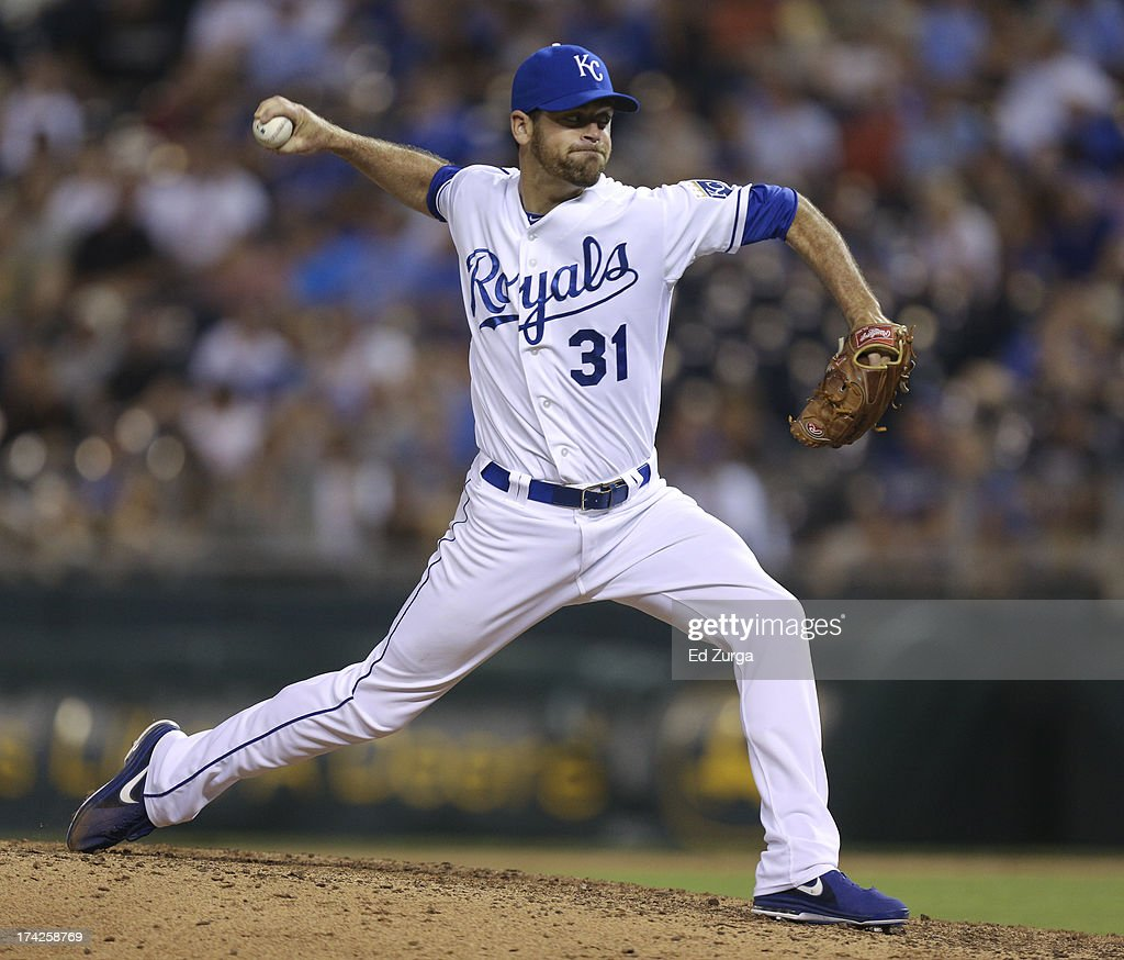 <a gi-track='captionPersonalityLinkClicked' href=/galleries/search?phrase=Louis+Coleman&family=editorial&specificpeople=2145489 ng-click='$event.stopPropagation()'>Louis Coleman</a> #31 of the Kansas City Royals throws in the seventh inning during a game against the Baltimore Orioles at Kauffman Stadium on July 22, 2013 in Kansas City, Missouri.