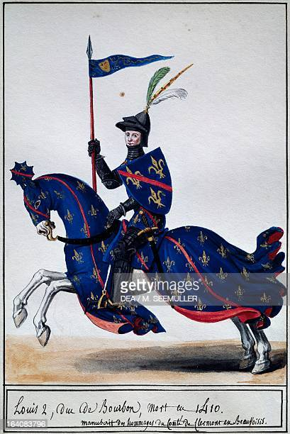 Louis de Bourbon called the Good watercolour by La Mesangere taken from the manuscript Gifts of the Count of Clermont in Beauvoisis 19th century...