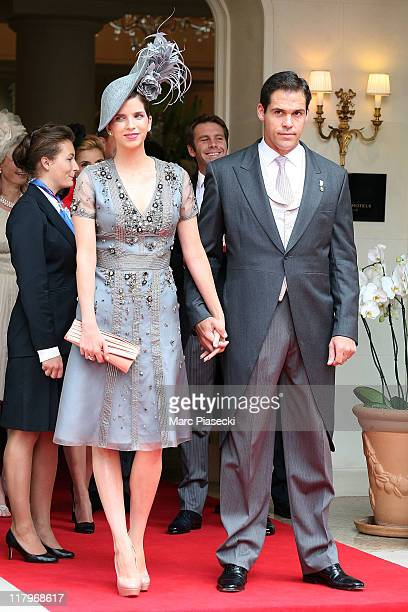 H Louis de Bourbon Duke of Anjou and his wife Maria Margarita Vargas Santaella leaves the 'Hermitage' hotel to attend the religious ceremony of the...