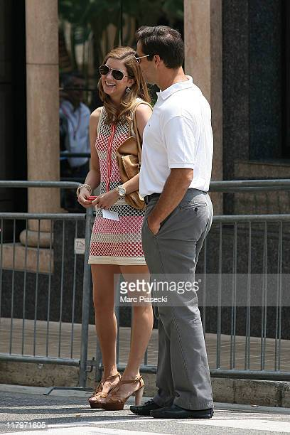 H Louis de Bourbon Duke of Anjou and his wife Maria Margarita Vargas Santaella are sighted around the 'Hermitage' hotel before the Royal Wedding of...
