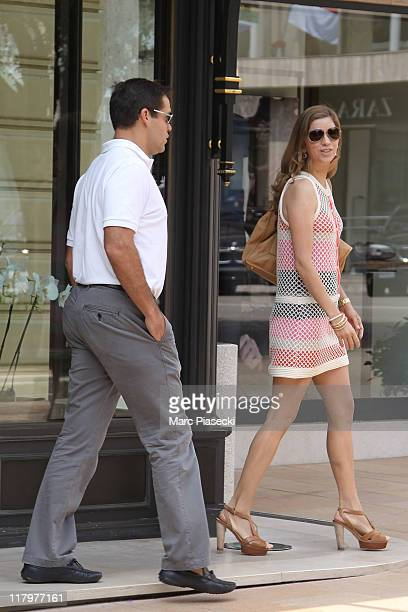 H Louis de Bourbon Duke of Anjou and his wife Maria Margarita Vargas Santaella are sighted around the 'Hermitage' hotel before the ceremony of the...