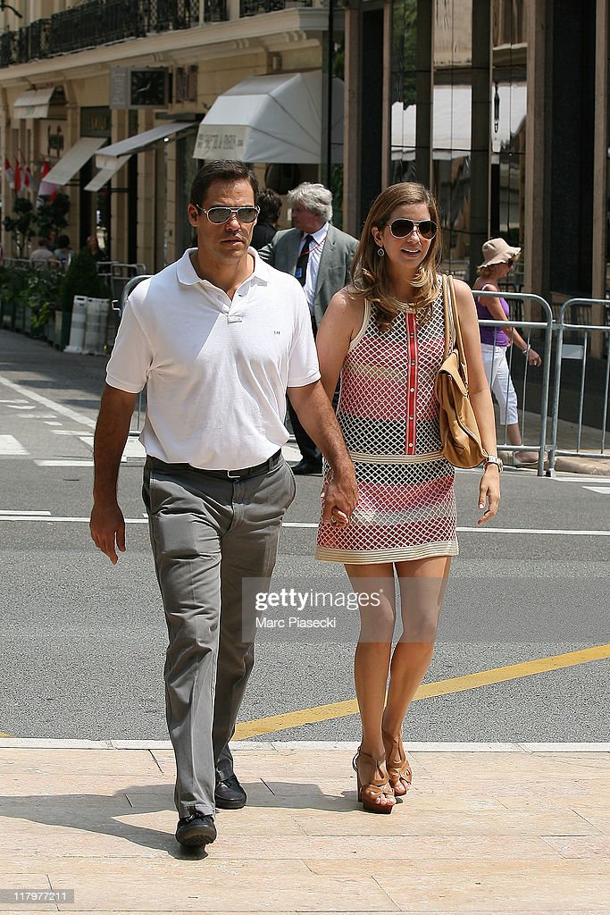 H. Louis de Bourbon, Duke of Anjou and his wife Maria Margarita Vargas Santaella are sighted around the 'Hermitage' hotel before the Royal Wedding of <a gi-track='captionPersonalityLinkClicked' href=/galleries/search?phrase=Prince+Albert+II+of+Monaco&family=editorial&specificpeople=201707 ng-click='$event.stopPropagation()'>Prince Albert II of Monaco</a> to <a gi-track='captionPersonalityLinkClicked' href=/galleries/search?phrase=Charlene+-+Princess+of+Monaco&family=editorial&specificpeople=726115 ng-click='$event.stopPropagation()'>Charlene</a> Wittstock in the main courtyard at on July 2, 2011 in Monaco, Monaco.