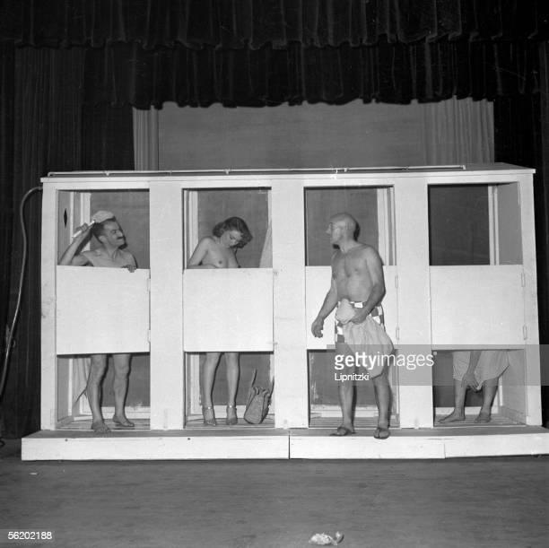 Louis de Funes and Gaston Caccia in 'Ah Les belles bacchantes' Paris theatre Daunou June 1953