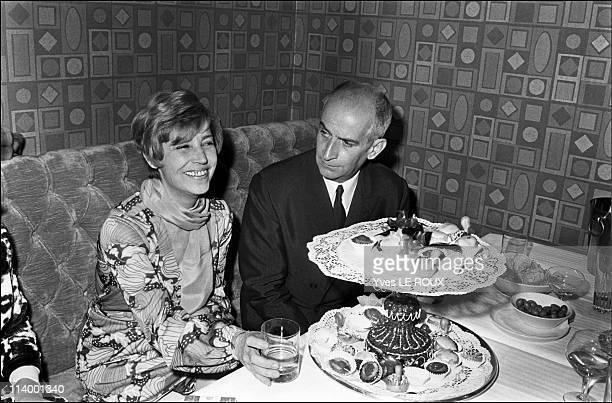 Louis de Funes opens the new discotheque 'Village' in Paris France on May 07 1969Louis de Funes and wife Jeanne
