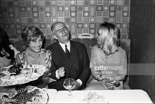 Louis de Funes opens the new discotheque 'Village' in Paris France on May 07 1969Louis de Funes wife Jeanne and Mylene Demongeot