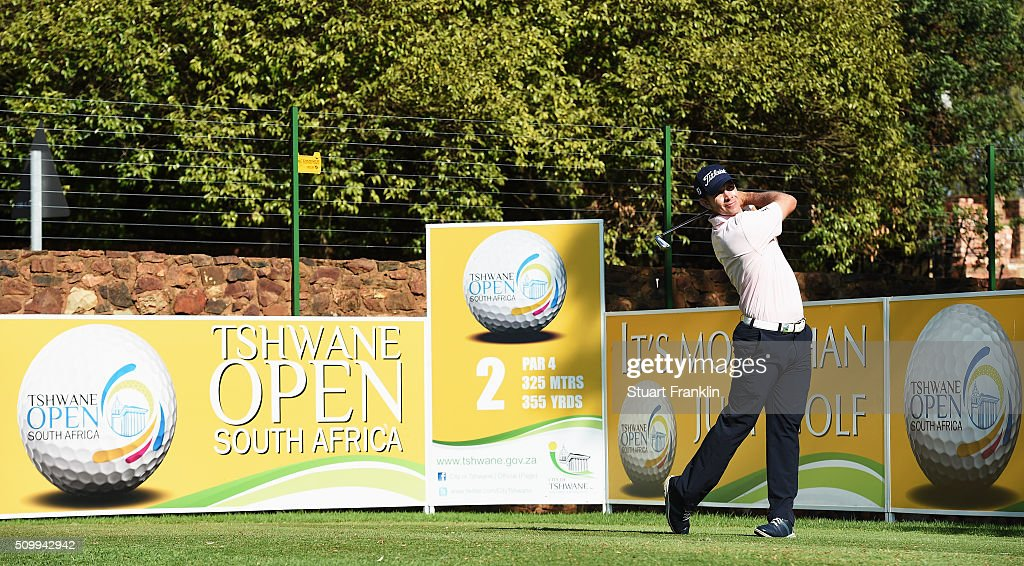 Louis De Jager of South Africa plays a shot during the third round of the Tshwane Open at Pretoria Country Club on February 13, 2016 in Pretoria, South Africa.
