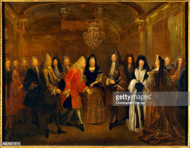 Louis De Silvestre Louis XIV welcomes the Elector of Saxony Frederick Augustus II presentd by Elizabeth Charlotte of Orleans Fontainebleau September...