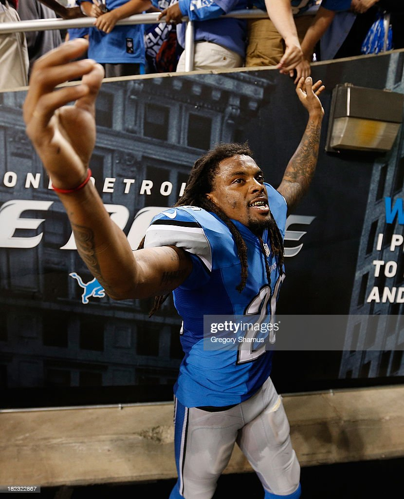 <a gi-track='captionPersonalityLinkClicked' href=/galleries/search?phrase=Louis+Delmas&family=editorial&specificpeople=5680392 ng-click='$event.stopPropagation()'>Louis Delmas</a> #26 of the Detroit Lions celebrates a 40-32 victory over the Chicago Bears at Ford Field on September 29, 2013 in Detroit, Michigan.