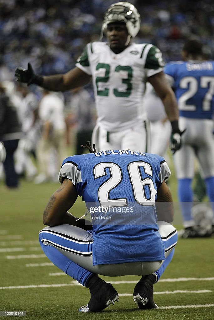 Louis Delmas #26 of the Detroit Lions reflects on the Lions overtime loss to the New York Jets at Ford Field on November 7, 2010 in Detroit, Michigan. The Jets defeated the Lions 23-20 in overtime.