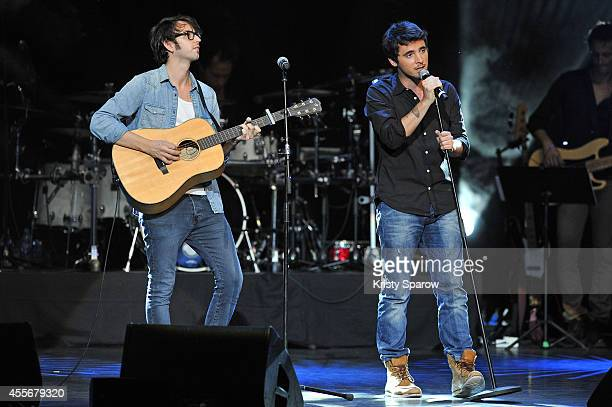 Louis Delort performs onstage during 'Leurs Voix Pour L'Espoir 2014' concert at L'Olympia on September 18 2014 in Paris France