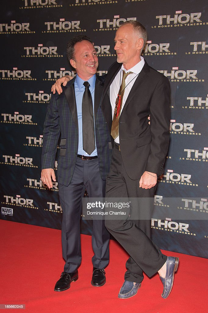 Louis d'Esposito and Alan Taylor attend the 'Thor: The Dark World' Paris Premiere at Le Grand Rex on October 23, 2013 in Paris, France.