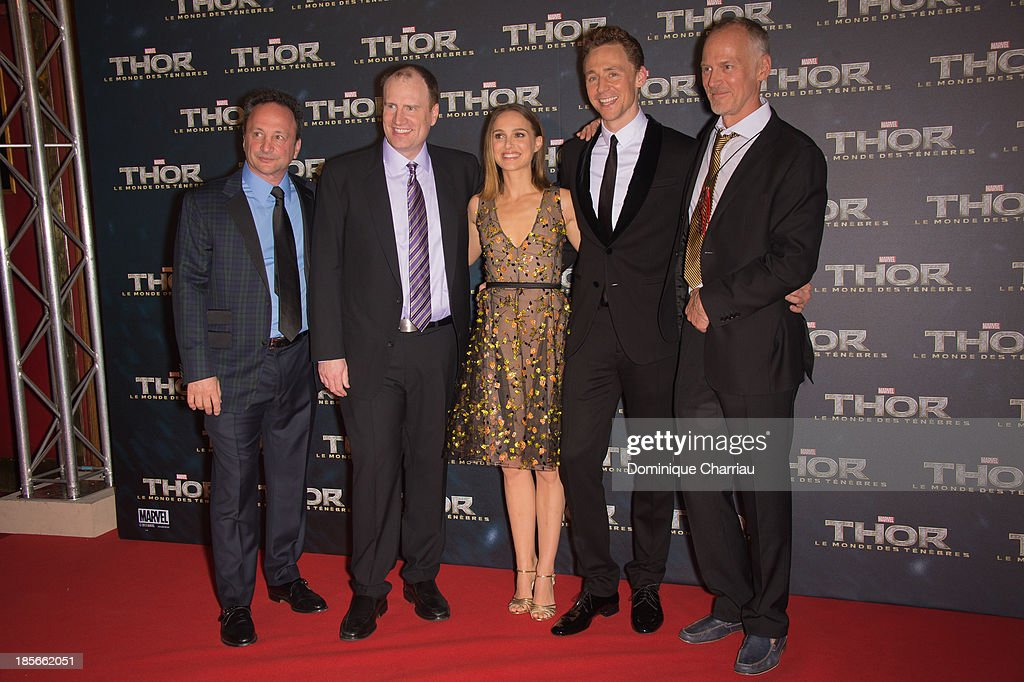 Louis d'Esposito, Kevin Feige, Natalie Portman, Tom Hiddleston and Alan Taylor attend the 'Thor: The Dark World' Paris Premiere at Le Grand Rex on October 23, 2013 in Paris, France.
