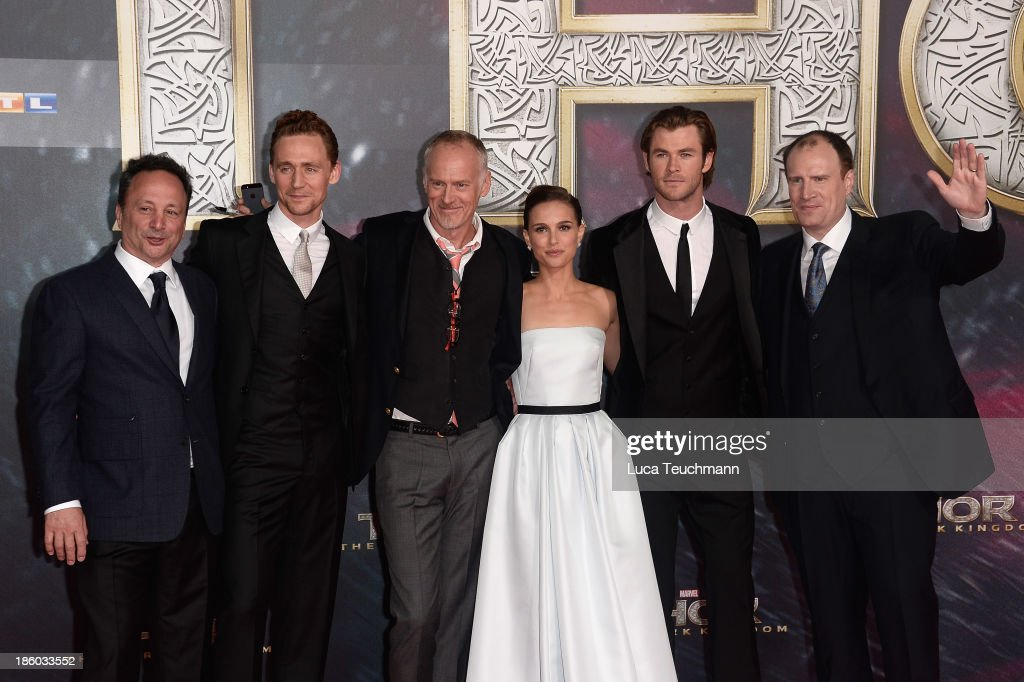 Louis d'Esposito, Tom Hiddlšeston, Alan Taylor, Natalie Portman, Chris Hemsworth and Kevin Feige arrive for