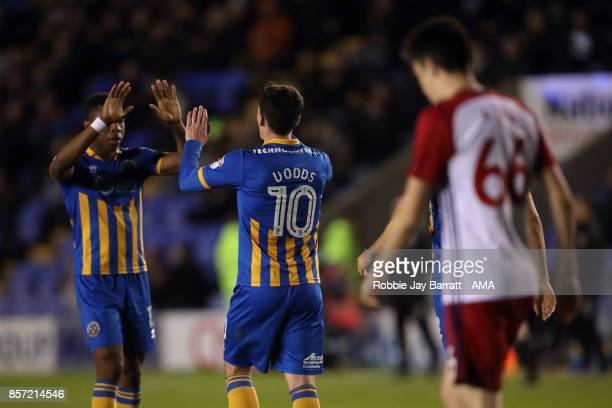 Louis Dodds of Shrewsbury Town celebrates after scoring a goal to make it 30 during the EFL Checkatrade Trophy Northern Section Group B game between...