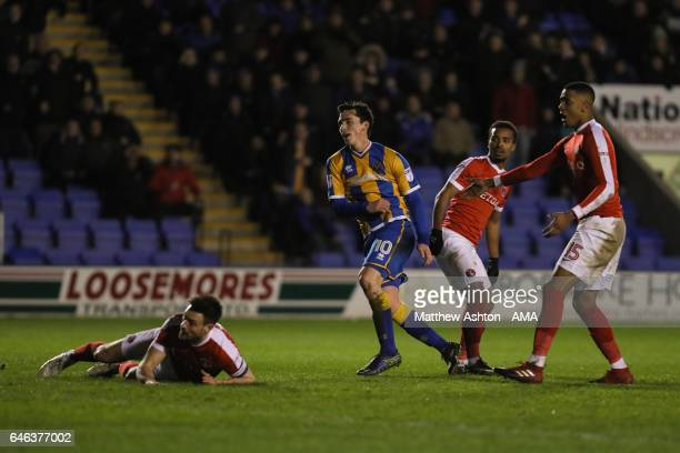 Louis Dodds of Shrewsbury Town scores a goal to make it 43 during the Sky Bet League One match between Shrewsbury Town and Charlton Athletic at...