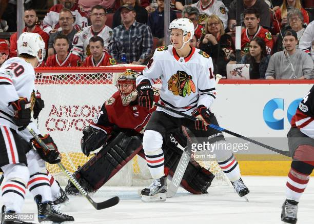 Louis Domingue of the Arizona Coyotes gets ready to make a save while looking around a screen by Richard Panik of the Chicago Blackhawks at Gila...