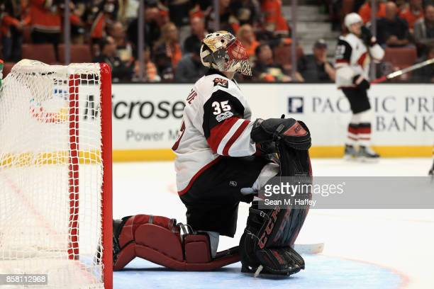 Louis Domingue of the Arizona Coyotes looks on after a goal by Rickard Rakell of the Anaheim Ducks during the third period of a game at Honda Center...