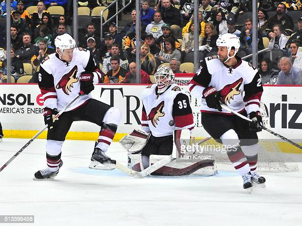 Louis Domingue of the Arizona Coyotes makes a save against the Pittsburgh Penguins at Consol Energy Center on February 29 2016 in Pittsburgh...