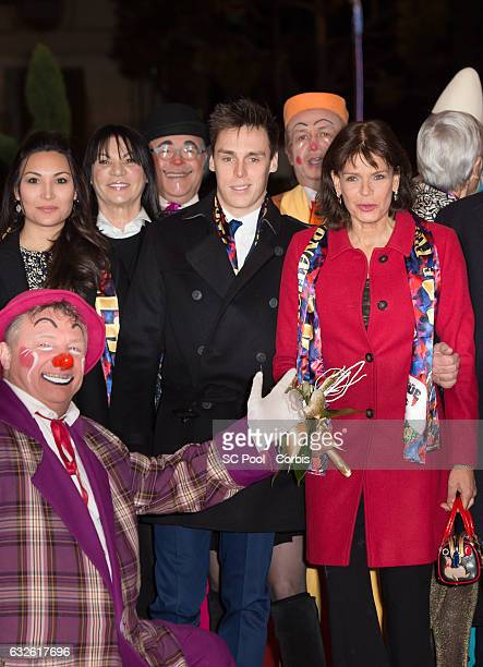 Louis Ducruet and his companion Marie and Princess Stephanie of Monaco attend the 41st MonteCarlo International Circus Festival on January 24 2017 in...