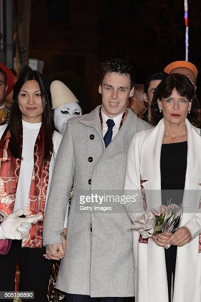 Louis Ducruet and his girfriend Marie and Princess Stephanie of Monaco attend the 40th International Circus Festival on January 15 2016 in Monaco...
