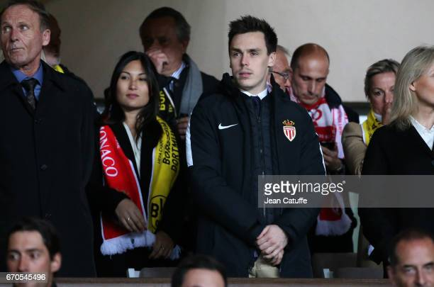 Louis Ducruet and his girlfriend Marie attend the UEFA Champions League quarter final second leg match between AS Monaco and Borussia Dortmund at...