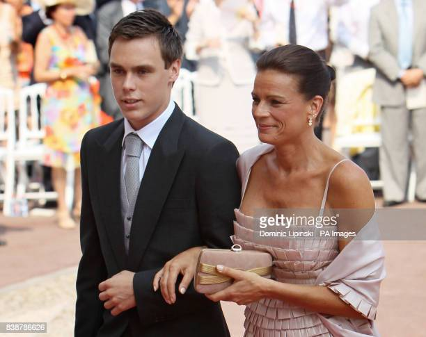 Louis Ducruet and Princess Stephanie of Monaco arrive at the Place du Palais Monte Carlo for the religious ceremony of the wedding of Charlene...