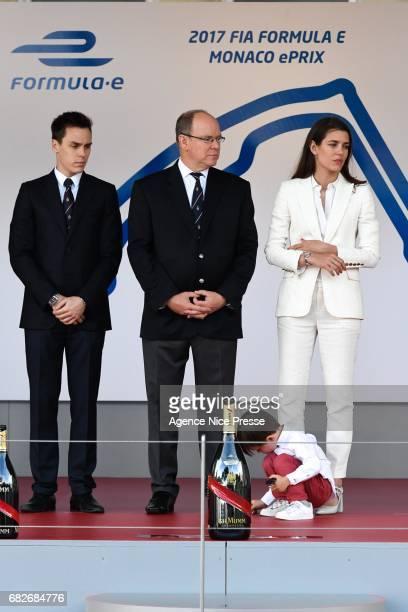 Louis Ducruet and the Prince Albert of Monaco and Charlotte Casiraghi Sebastien Buemi of Swizerland during the Grand Prix of Monaco on May 13 2017 in...