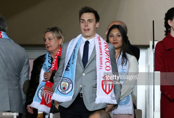 Louis Ducruet attends the UEFA Champions League Round of 16 second leg match between AS Monaco and Manchester City FC at Stade Louis II on March 15...