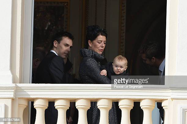 Louis Ducruet Caroline of Hanover and Princess Gabriella greet the crowd from the palace's balcony during the Monaco National Day Celebrations on...