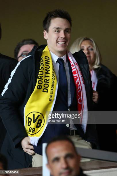 Louis Ducruet celebrates the victory following the UEFA Champions League quarter final second leg match between AS Monaco and Borussia Dortmund at...