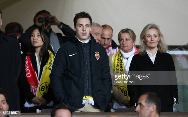 Louis Ducruet his girlfriend Marie and President of LFP Nathalie Boy de la Tour attend the UEFA Champions League quarter final second leg match...