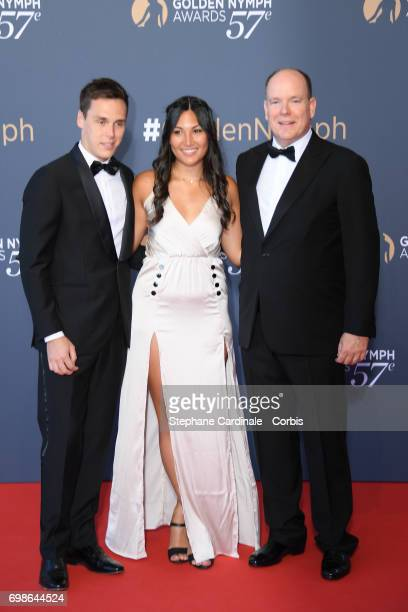 Louis Ducruet his girlfriend Marie pose with Prince Albert II of Monaco as they attend the 57th Monte Carlo TV Festival Closing Ceremony on June 20...