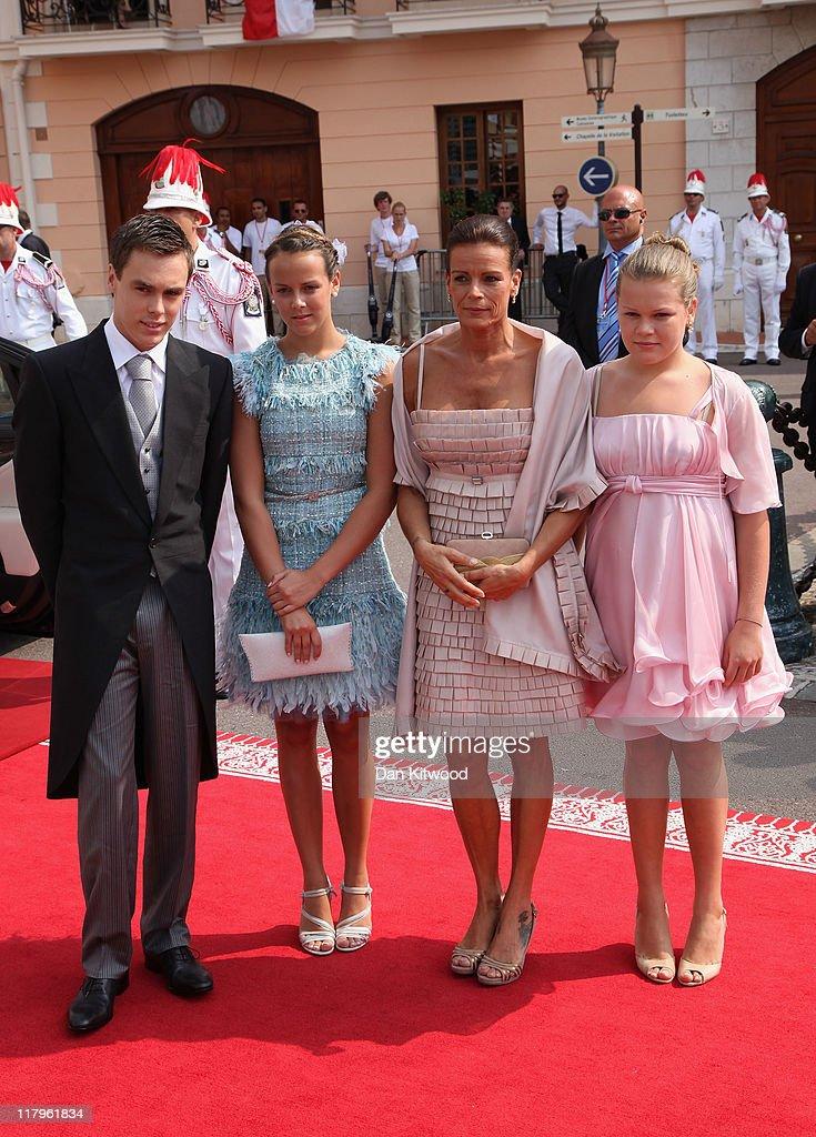 Louis Ducruet Pauline Ducruet Princess Stephanie of Monaco and Camille Gotlieb attend the religious ceremony of the Royal Wedding of Prince Albert II...