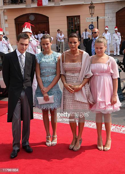 Louis Ducruet Pauline Ducruet Princess Stephanie of Monaco and Camille Gotlieb attend the religious ceremony of the Royal Wedding of Prince Albert II...