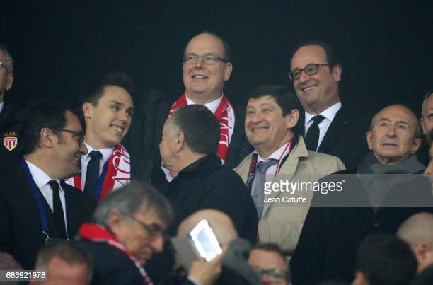 Louis Ducruet Prince Albert II of Monaco and French President Francois Hollande attend the French League Cup final between Paris SaintGermain and AS...