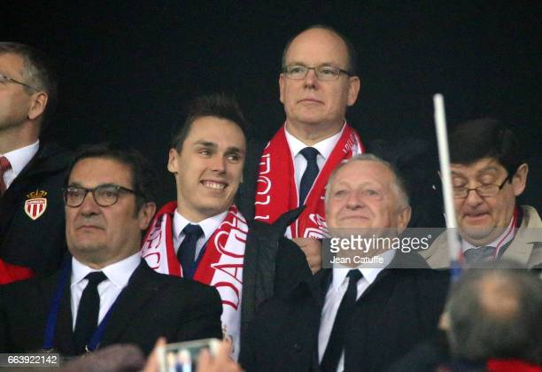 Louis Ducruet Prince Albert II of Monaco attend the French League Cup final between Paris SaintGermain and AS Monaco at Parc OL on April 1 2017 in...