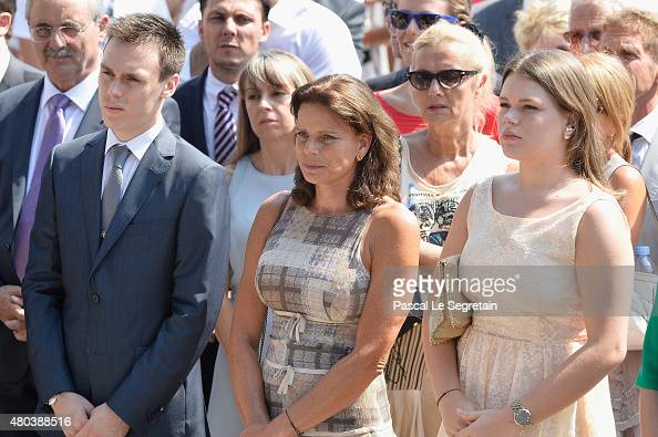Louis Ducruet Princess Stephanie of Monaco and Camille Gottlieb attend the First Day of the 10th Anniversary on the Throne Celebrations on July 11...