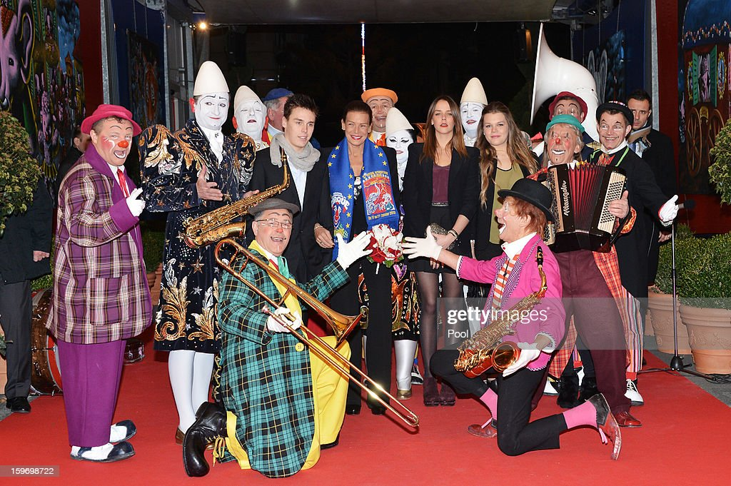Louis Ducruet, Princess Stephanie of Monaco, Pauline Ducruet and Camille Gotlieb pose with performers during day two of the Monte-Carlo 37th International Circus Festival on January 18, 2013 in Monte-Carlo, Monaco.