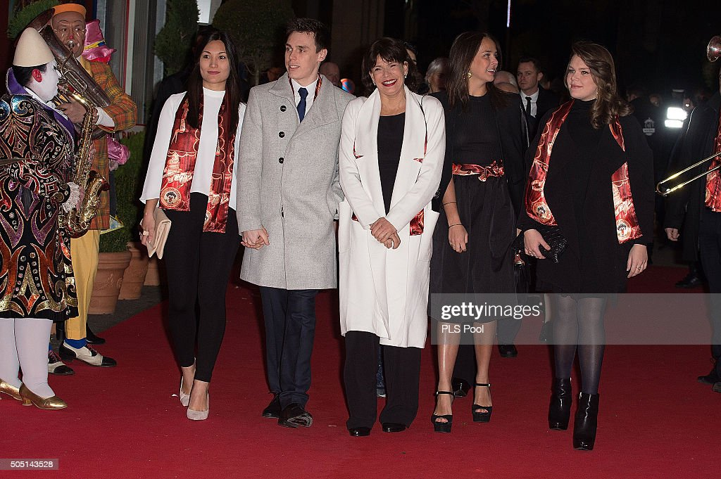 Louis Ducruet Princess Stephanie of Monaco Pauline Ducruet and Camille Gottlieb attend the 40th International Circus Festival on January 15 2016 in...