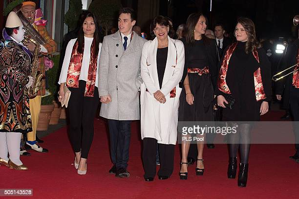 Louis Ducruet Princess Stephanie of Monaco Pauline Ducruet and Camille Gottlieb attend the 40th International Circus Festival on January 15 2016 in...