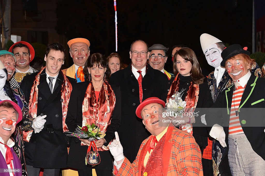 Louis Ducruet, Princess Stephanie of Monaco, Prince Albert II of Monaco and Camille Gottlieb attend the 40th International Circus Festival on January 16, 2016 in Monaco, Monaco.