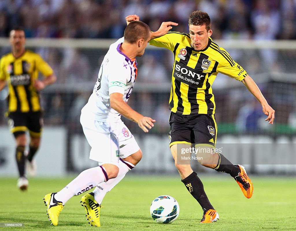 Louis Fenton of Wellington takes on the Glory defence during the round eight A-League match between Perth Glory and Wellington Phoenix at NIB Stadium on November 24, 2012 in Perth, Australia.