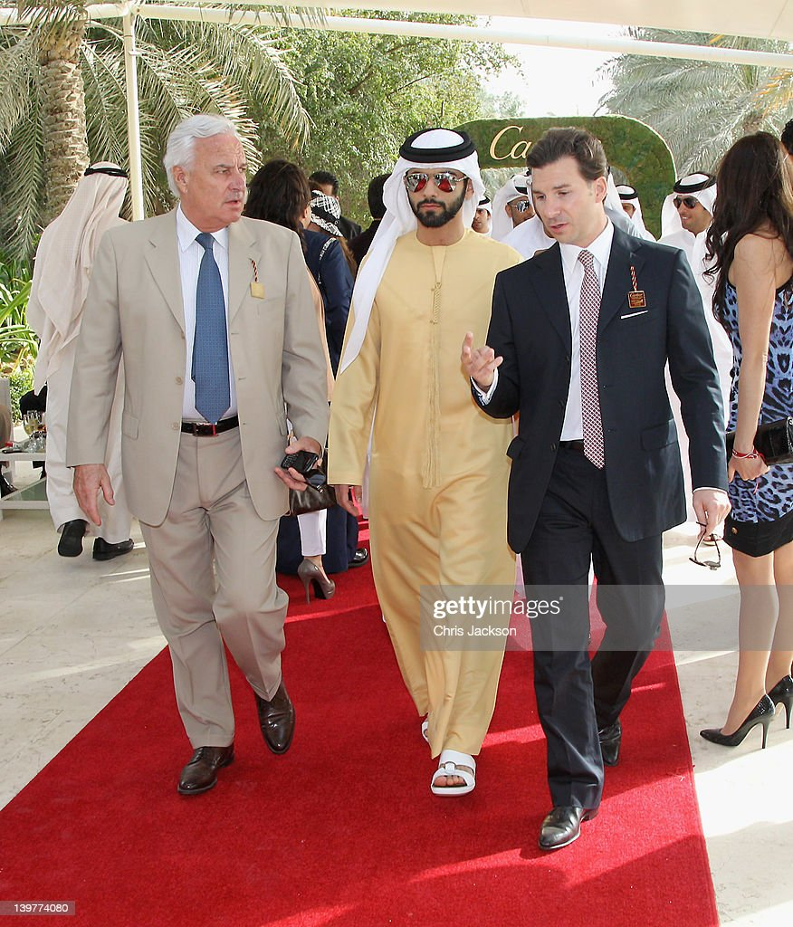 Louis Ferla Managing Director of Cartier Middle East Sheikh Majid Bin Mohammed and Bernard Fornas attend the Cartier International Dubai Polo...