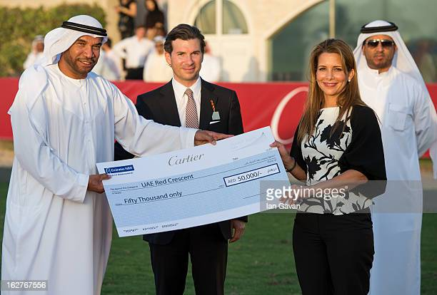 Louis Ferla of Cartier and HRH Princess Haya Bint Al Hussein attend the final day at the Cartier International Dubai Polo Challenge at the Desert...