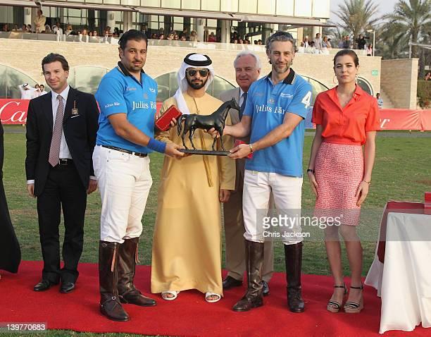 Louis Ferla Sheikh Majid Bin Mohammed Bernard Fornas and Charlotte Casiraghi attend the Cartier International Dubai Polo Challenge at the Desert Palm...