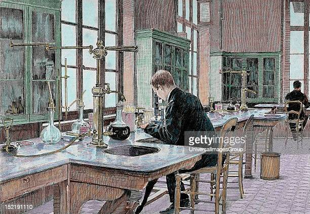 PASTEUR Louis French chemist and bacteriologist Study of microbes in the Pasteur Institute Engraving