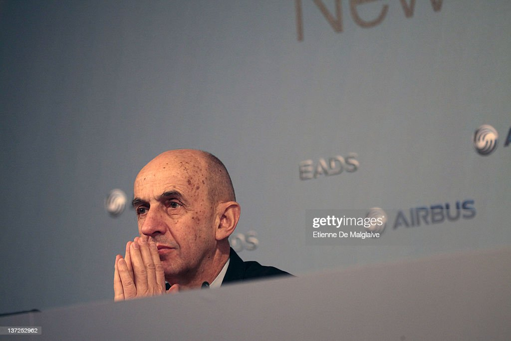<a gi-track='captionPersonalityLinkClicked' href=/galleries/search?phrase=Louis+Gallois&family=editorial&specificpeople=752096 ng-click='$event.stopPropagation()'>Louis Gallois</a> attend the EADS Airbus new year press conference on January 17, 2012 in Hamburg, Germany. Airbus, a unit of European Aeronautic, Defence & Space Co., delivered a record 534 planes, ahead of budget, and predicted deliveries will rise to 570 aircraft in 2012.