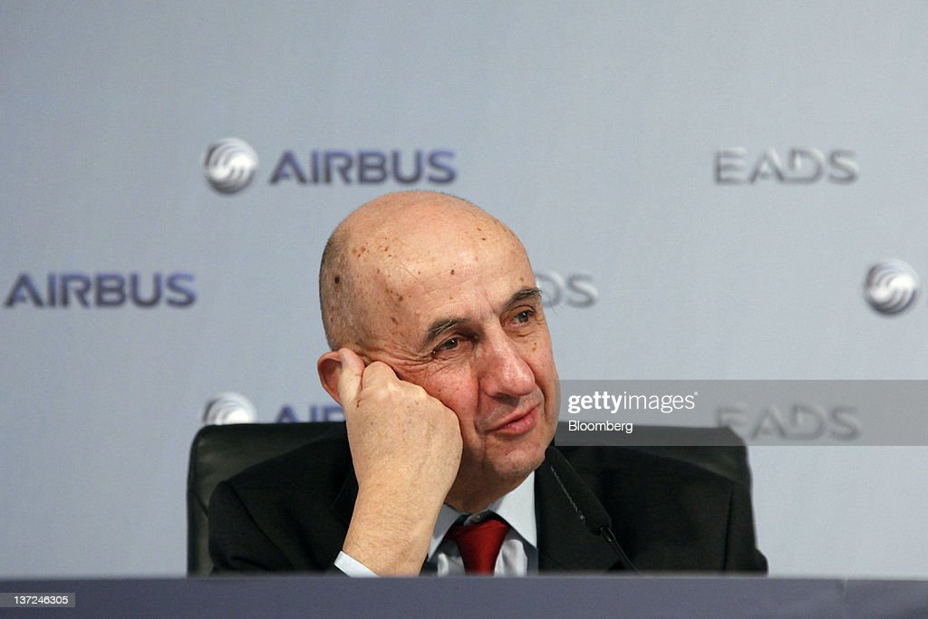 Louis Gallois, chief executive officer of European Aeronautic, Defence & Space Co. (EADS), pauses during a news conference in Hamburg, Germany, on Tuesday, Jan. 17, 2012. Airbus, a unit of European Aeronautic, Defence & Space Co., delivered a record 534 planes, ahead of budget, and predicted deliveries will rise to 570 aircraft in 2012. Photographer: Michele Tantussi/Bloomberg via Getty Images