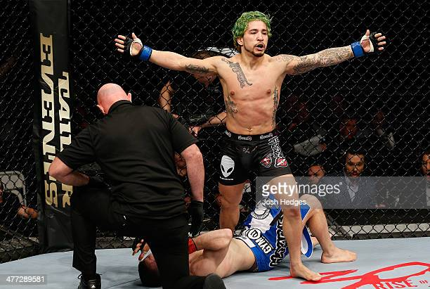 Louis Gaudinot reacts after his submission victory over Phil Harris in their flyweight fight during the UFC Fight Night London event at the O2 Arena...