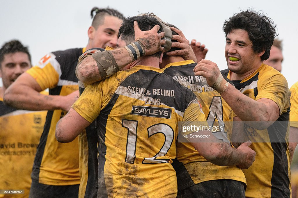 Louis Harmon of New Brighton (R) celebrates with team mates after Henare Faithfull scores a try during the match between New Brighton RFC and Linwood RC on May 28, 2016 in Christchurch, New Zealand.